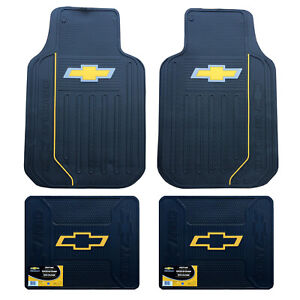 New Chevy Elite Bowtie Logo Front Back Heavy Duty Rubber Floor Mats