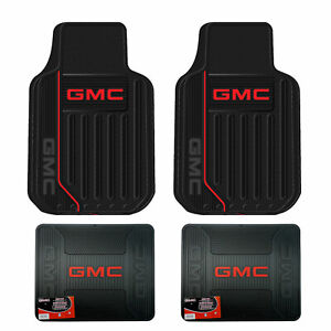 New Gmc Elite Logo All Weather Heavy Duty Rubber Front Back Floor Mats Set