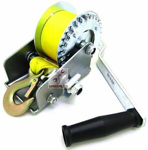 Nylon Strap 1200lb Hand Winch Hand Crank Heavy Duty Winch Atv Trailer Boat