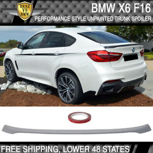 15 18 Bmw F16 X6 F86 X6m Performance Style Unpainted Trunk Spoiler Abs