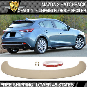 Usa Stock 14 16 Mazda 3 Hatchback Oe Style Abs Roof Spoiler Unpainted Black