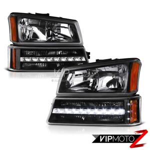 2003 2006 Chevy Silverado Avalanche 1500 2500 3500 Black Led Signal Head Lights