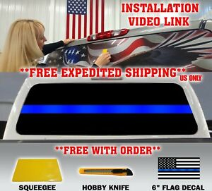 Thin Blue Line Police Support Flag Pickup Truck Rear Window Decal Tint