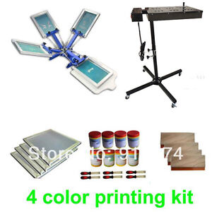 4 Color Silk Screen Printing Kit Flash Dryer Plastisol Ink T shirt Printer Diy