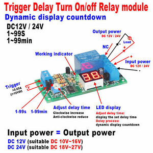 Led Display Adjustable Delay Timing Timer Relay Switch Delay Turn On off Module