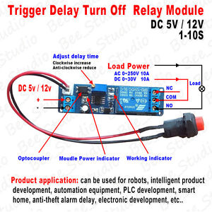 Adjustable Delay Turn Off Switch Timing Timer Board Time Relay Module 1 10s