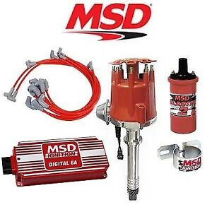 Msd 90101 Ignition Kit Digital 6a distributor wires coil Sbc Vacuum Advance