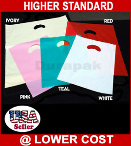 12x15 1000pcs 1 5 Mil Thick Kidney Die cut Handle Shopping Bag All Colors