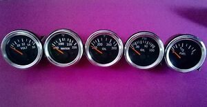 El Gauges 52mm 5pc Oil Pressure Temp Oil Temp Fuel Gauge Volt Chrome