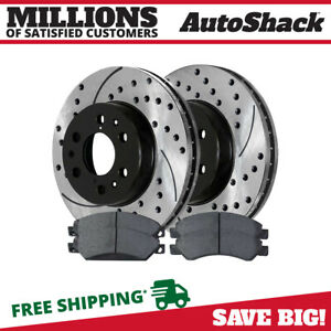 Performance Drilled And Slotted Rotors Pair Semi Metallic Brake Pads Set