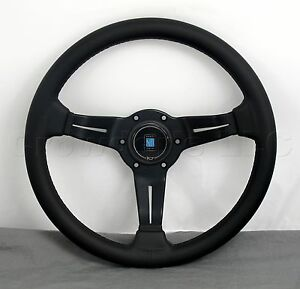 Nardi 330mm Black Steering Wheel Deep Dish Corn Black Leather Black Type A Horn