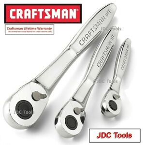 Craftsman 3 Pc Socket Ratchet Wrench Set 84t Tooth Thin Profile 944992 New