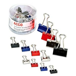 Steel Binder Clips Assorted Colors Size 30 Count Impressions Paper Sorter Grip