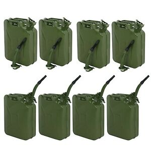Lot 8 Jerry Can Green 20l 5 Gallon Backup Steel Tank Fuel Gasoline Military