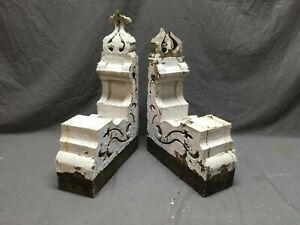 Antique Pair Wood Corbels Gingerbread Shabby Old Cottage Chic Vtg 1230 16