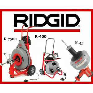 Ridgid K 7500 Drum Machine 60052 K 400 Machine 24853 K 45 1 Sink Machine 36013