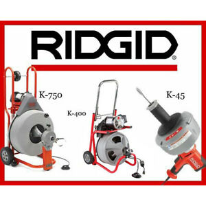 Ridgid K 750 Drum Machine 42007 K 400 Machine 24853 K 45 1 Sink Machine 36013