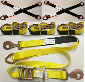 4x Sets Axle Straps Car Hauler Trailer Auto Tie Down Ratchet Tow Quality Kit Yel