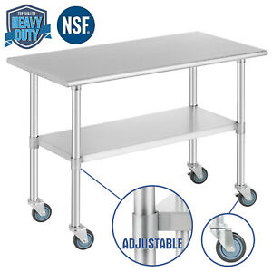 Food Prep Work Table For Kitchen Restaurant W 4 Wheels 24 x48 Stainless Steel