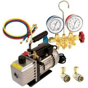Vacuum Pump And Manifold Gauge Kit For R134a With 6909 Vacuum Pump And 6715 Ma