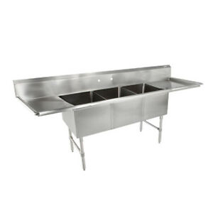 John Boos 3b16204 2d36 Three Compartment Sink W Two 36 Drainboards