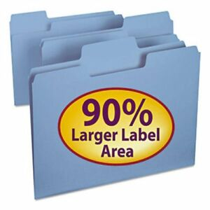 Smead Supertab Colored File Folders 1 3 Cut Letter Blue 100 box smd11986