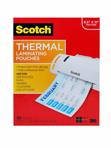 Scotch Thermal Laminating Pouches 8 9 X 11 4 inches 3 Mil Thick 100 pack
