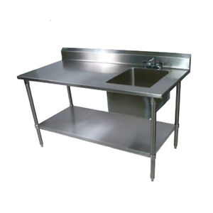 John Boos Ept8r5 3060gsk r Work Table W Right End Prep Sink 60 X 30 18 Gauge