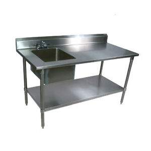 John Boos Ept8r5 3072gsk l Work Table W Left End Prep Sink 72 X 30 18 Gauge