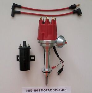 Small Cap Mopar Big Block 59 78 383 400 Pro Series Hei Red Distributor 45k Coil