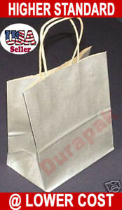 200 Pcs All Colors Queen Metallic Kraft Shopping Bags 16x6x19 Large Shopper Bag