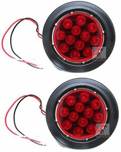 qty 2 Red 12 Led 4 Round Truck Trailer Brake Stop Turn Tail Lights Set