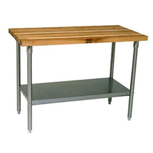 John Boos Jns09 Wood Top Work Table W Undershelf 48 w X 30 d