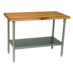 John Boos Sns09 Wood Top Work Table Stainless Undershelf 60 w X 30 d
