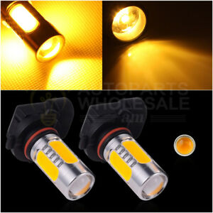 2 9005 Yellow Amber Hb3 7 5w Cob Led Bulbs For Car Daytime Runing Light