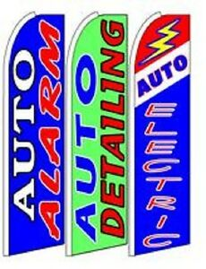 Auto Alarm Auto Electric King Size Swooper Flag Sign W complete 3 Set