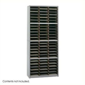 Filing Cabinet File Storage Sorter 72 Compartment Vertical Organizer In Gray