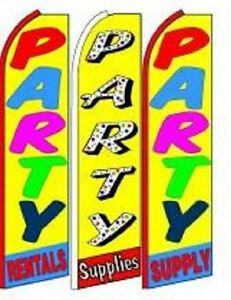 Party Supplies King Size Swooper Flag Sign W complete 3 Set