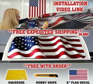 American Flag Pick up Truck Back Window Graphic Decal Perforated Vinyl tint