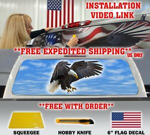 Bald Eagle Attack Pick up Truck Back Window Tint Graphic Decal Perforated Tint