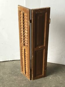 Antique Bi Fold Window Wood Louvered Paneled Shutter Interior Old 14x34 1538 16