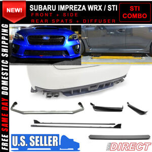 Fits 15 18 Subaru Wrx Oe Sti Style V Limited Front Rear Lip Side Skirts Abs