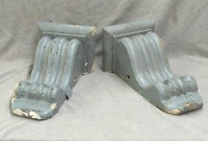 Pair Antique Wood Corbels Gingerbread Bookends Shabby Cottage Chic Vtg 1547 16