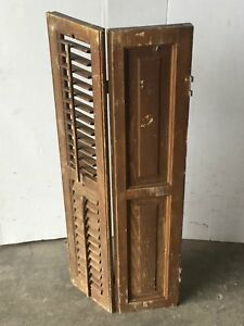 Antique Bi Fold Window Wood Louvered Paneled Shutter Interior Old 14x34 1557 16