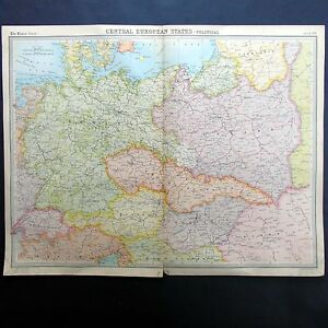 Central European States Political Map Vintage 1922 Map By Bartholomew