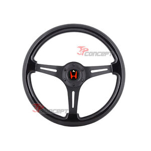 350mm Jdm Classic Wood Grain All Black Steering Wheel W red H Emblem Deep Dish