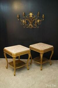 Superior Set Pair French Louis Xv Gilded Rose Marble Side End Tables Nightstand