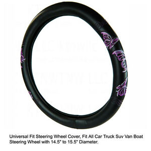 Bdk Purple Butterfly Car Truck Suv Van Boat Steering Wheel Cover