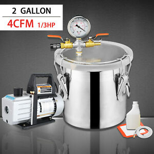4 Cfm Single Stage Pump And 2 Gallon Vacuum Chamber W degassing Silicone Kit