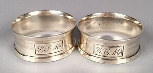 Two 2 Antique Webster Sterling Napkin Rings 1 7 8 D X 3 4 38 3g 64 5